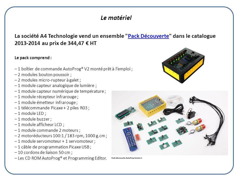 Le matériel La société A4 Technologie vend un ensemble Pack Découverte dans le catalogue 2013-2014 au prix de 344,47 € HT.