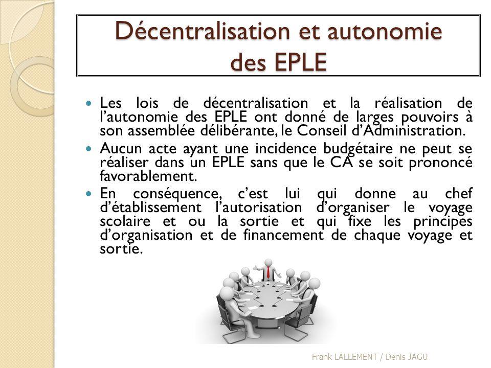 Décentralisation et autonomie des EPLE