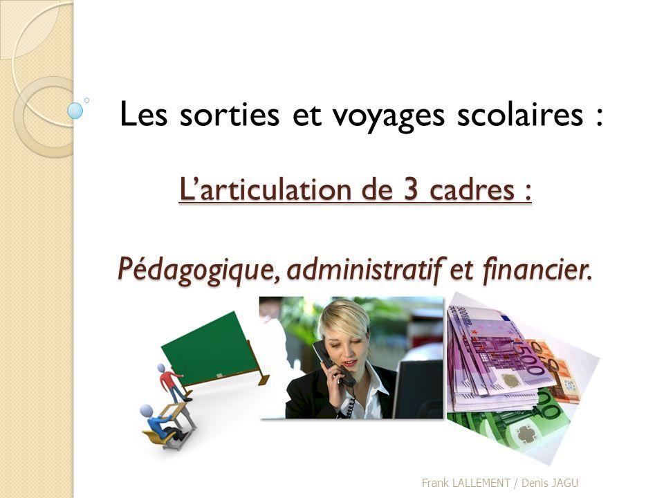 L'articulation de 3 cadres : Pédagogique, administratif et financier.