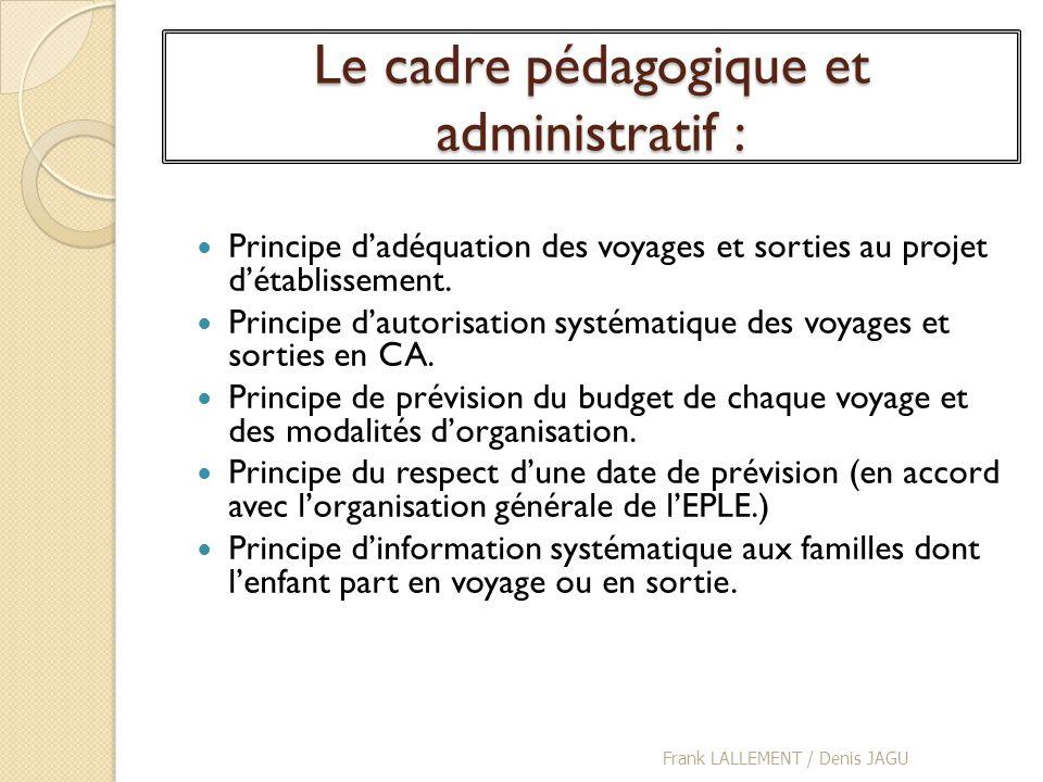 Le cadre pédagogique et administratif :
