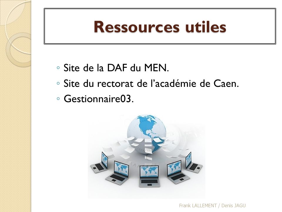 Ressources utiles Site de la DAF du MEN.