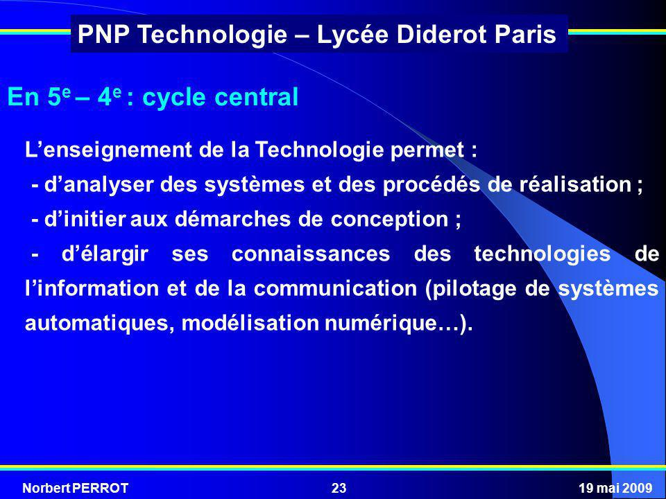 En 5e – 4e : cycle central L'enseignement de la Technologie permet :