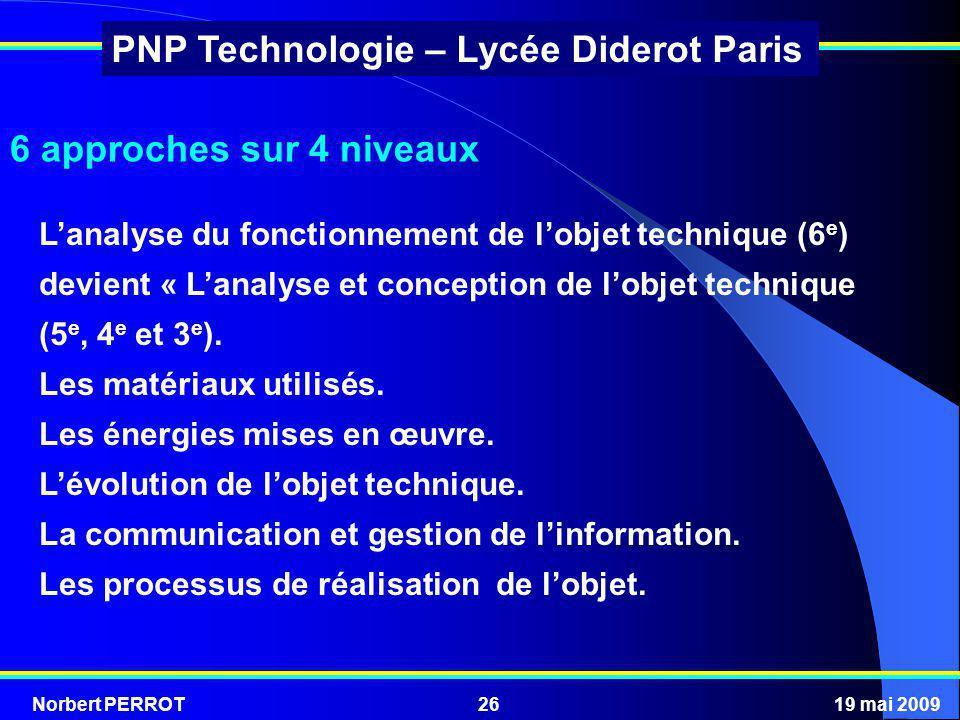 6 approches sur 4 niveaux L'analyse du fonctionnement de l'objet technique (6e) devient « L'analyse et conception de l'objet technique