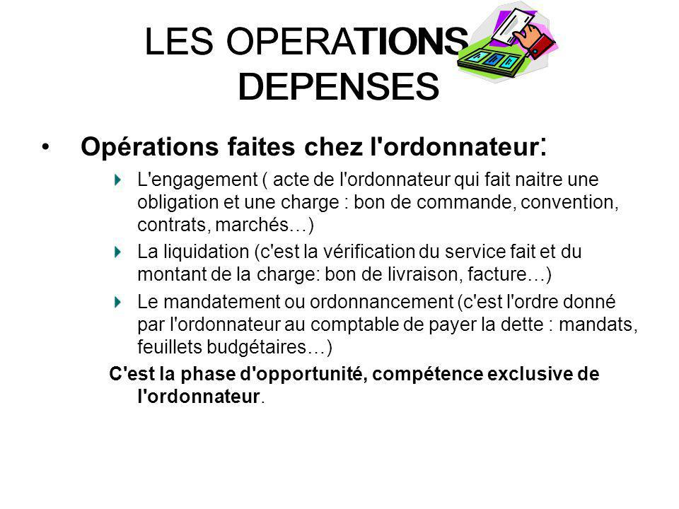LES OPERATIONS DE DEPENSES
