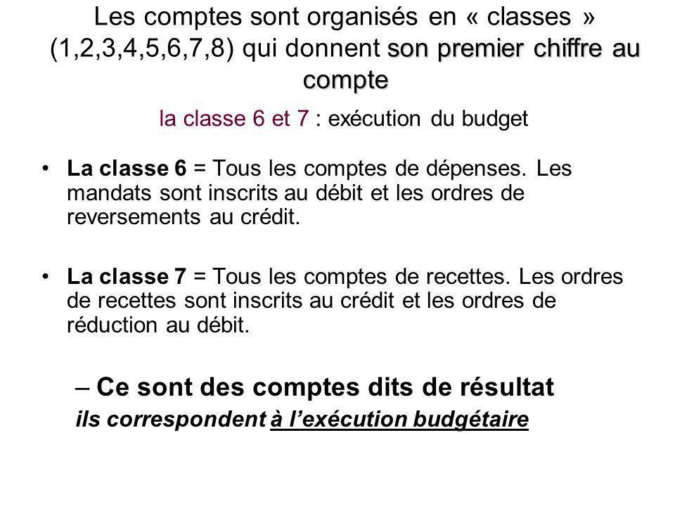 la classe 6 et 7 : exécution du budget