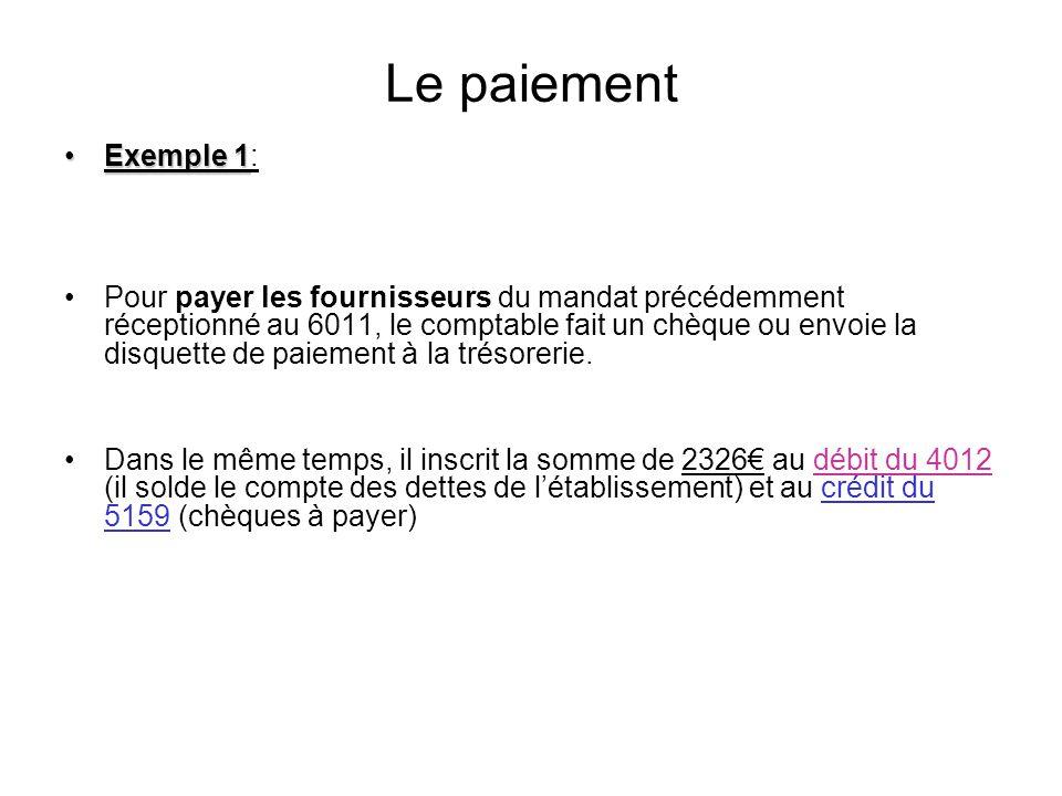 Le paiement Exemple 1: