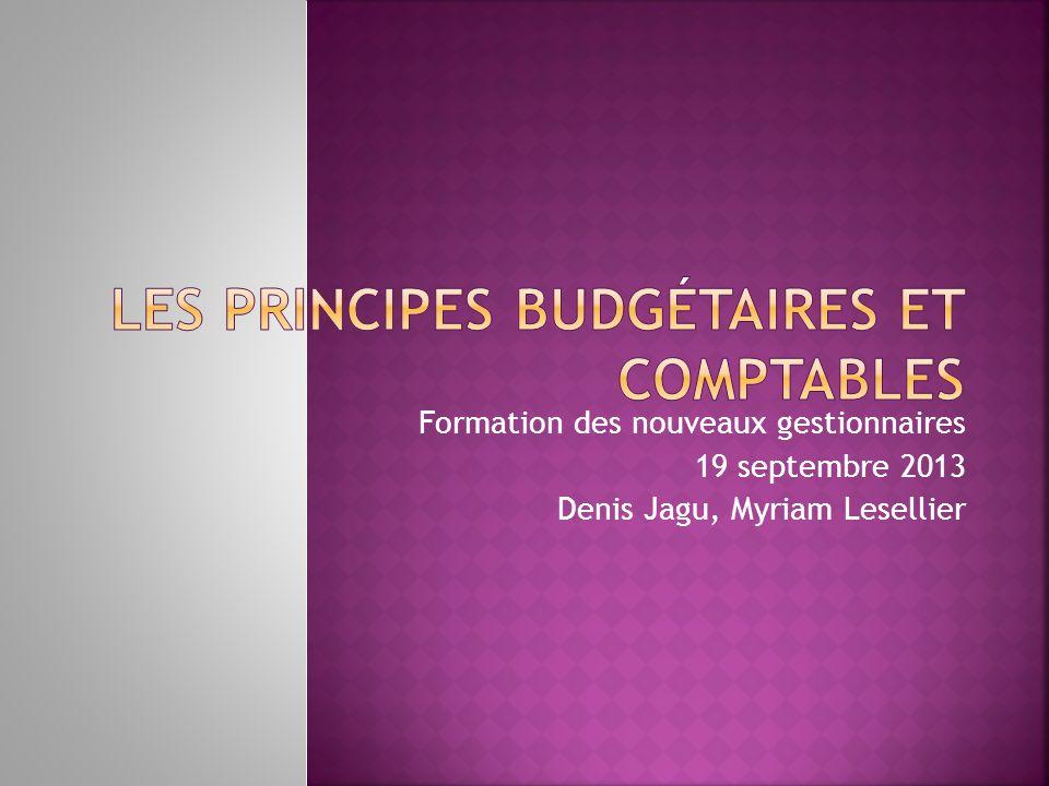 Les principes budgétaires et comptables