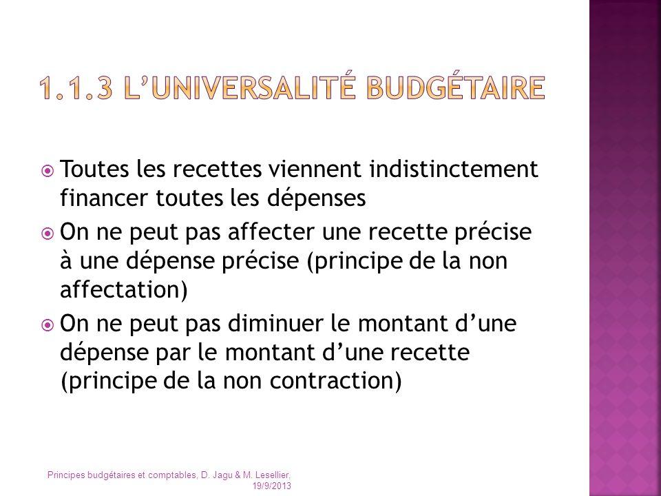 1.1.3 L'universalité budgétaire