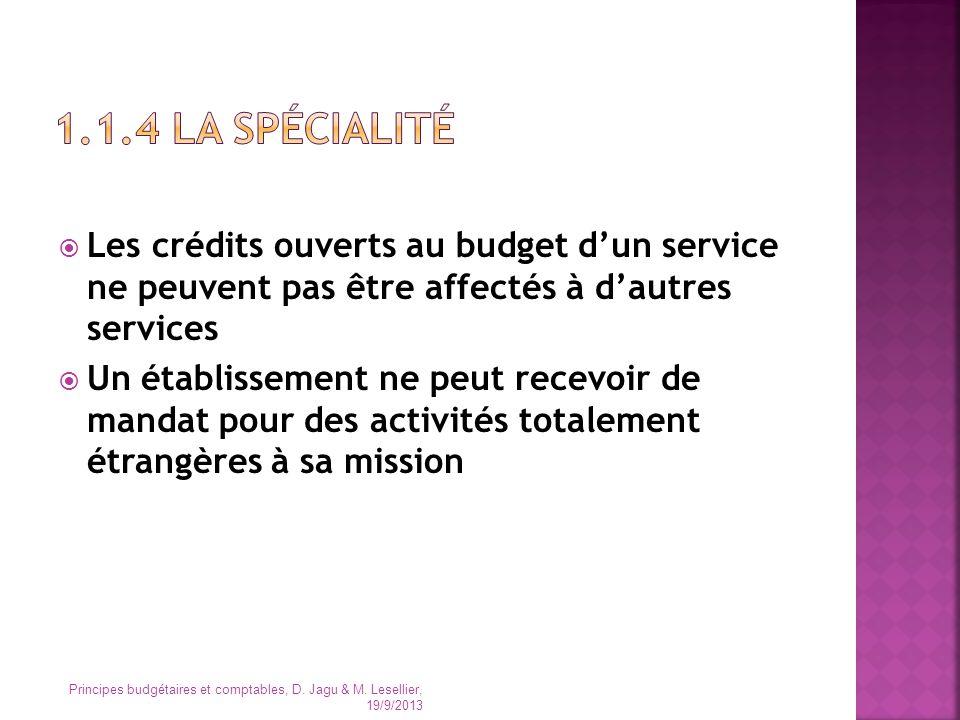 1.1.4 LA Spécialité Les crédits ouverts au budget d'un service ne peuvent pas être affectés à d'autres services.