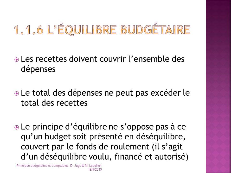 1.1.6 L'équilibre budgétaire