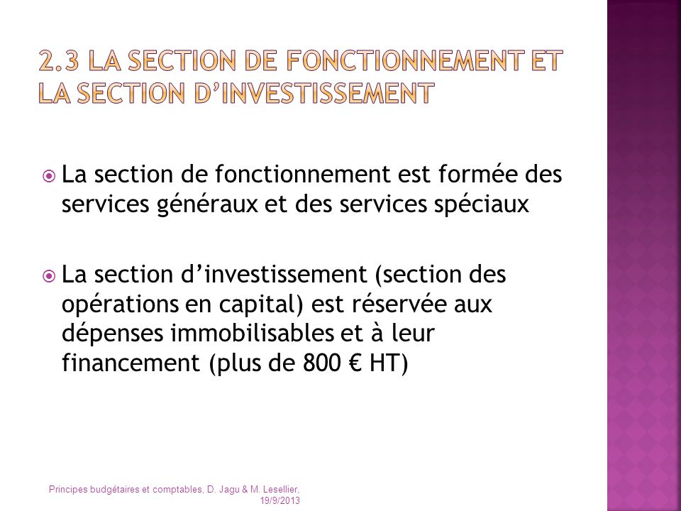 2.3 LA section de fonctionnement et LA SECTION D'INVESTISSEMENT