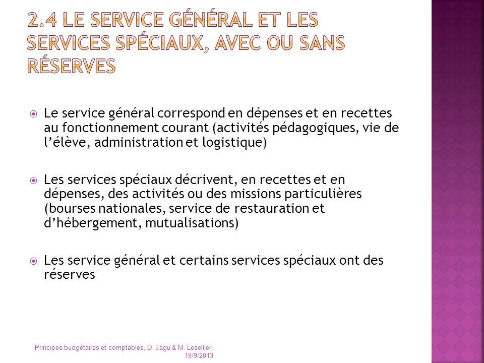 2.4 Le service général et les services spéciaux, avec ou sans réserves