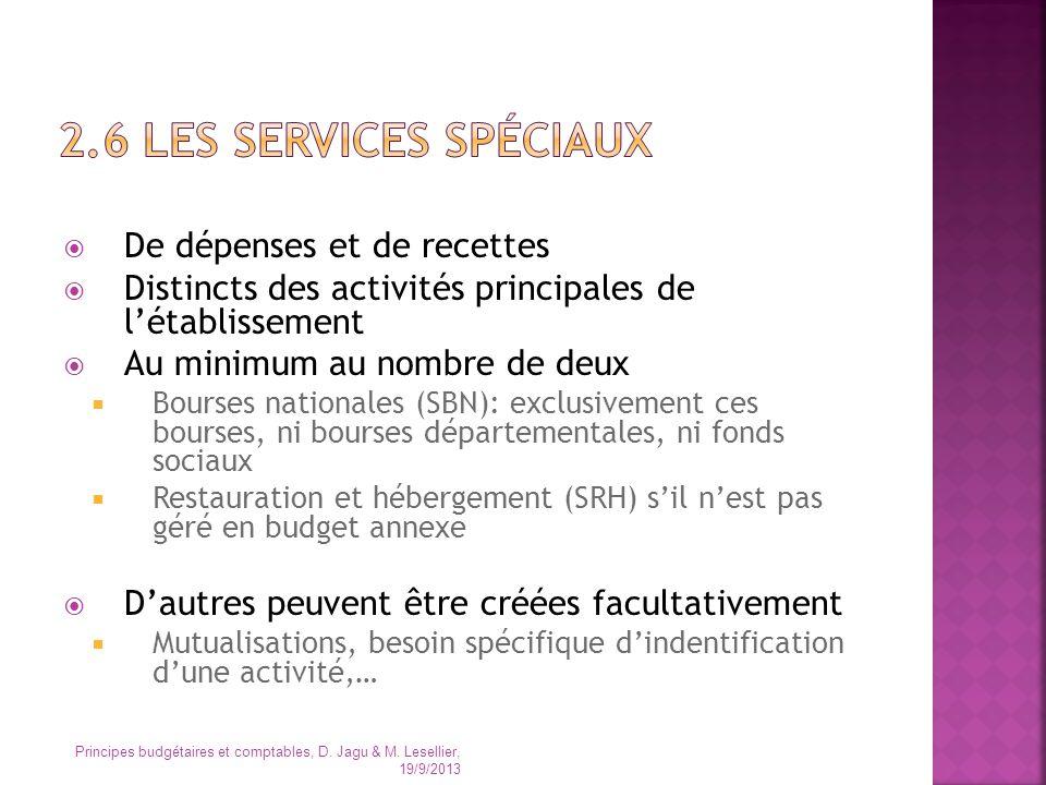 2.6 Les services spéciaux De dépenses et de recettes