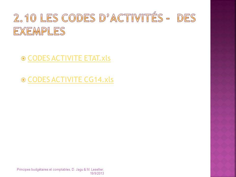2.10 Les codes d'activités - des exemples