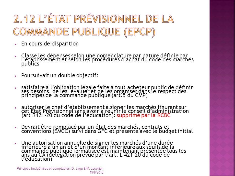 2.12 L'état prévisionnel de la commande publique (EPCP)