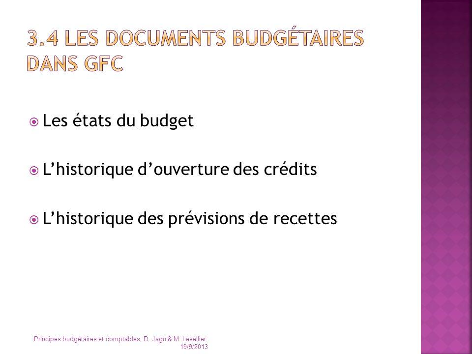 3.4 Les documents budgétaires dans GFC