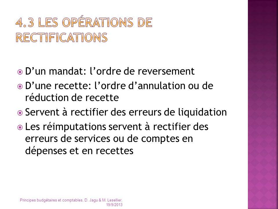 4.3 Les opérations de rectifications