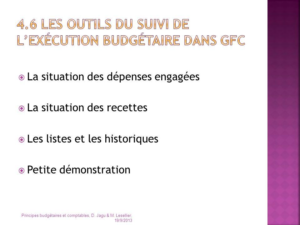 4.6 Les outils du suivi de l'exécution budgétaire dans GFC