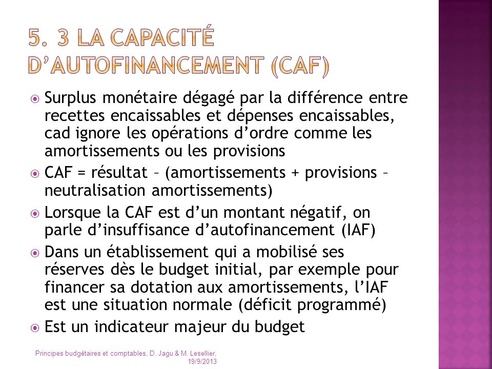 5. 3 la capacité d'autofinancement (caf)