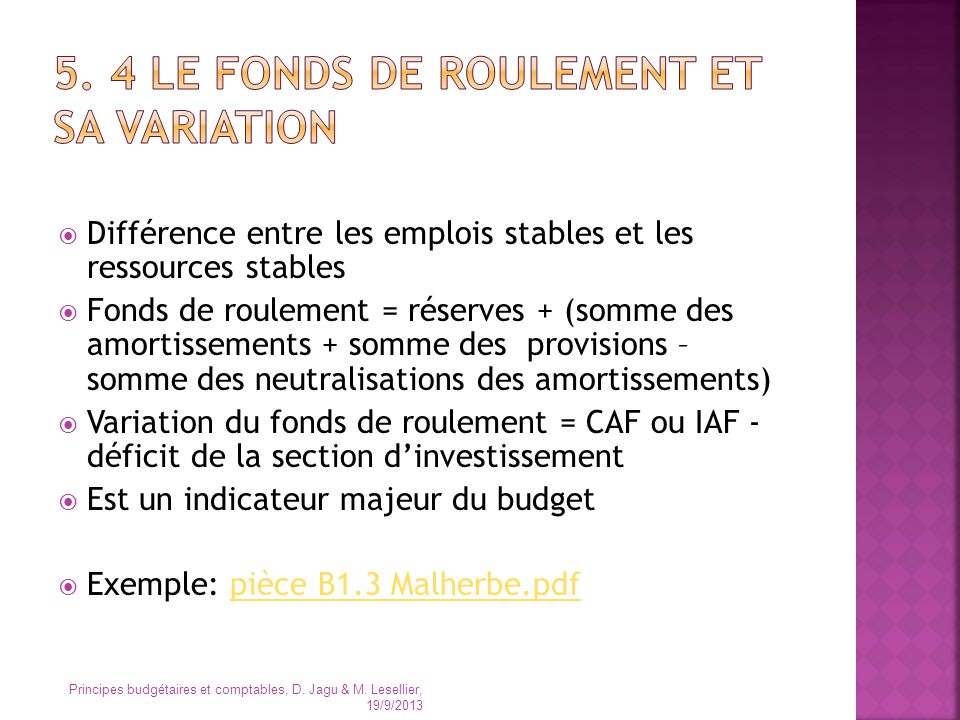 5. 4 le fonds de roulement et sa variation