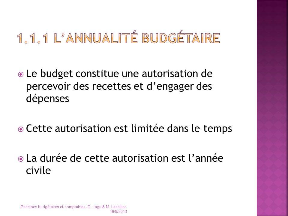 1.1.1 L'annualité budgétaire