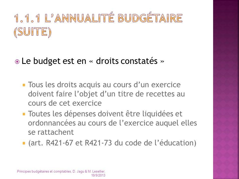 1.1.1 L'annualité budgétaire (suite)