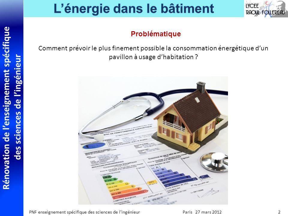 Problématique Comment prévoir le plus finement possible la consommation énergétique d'un pavillon à usage d'habitation