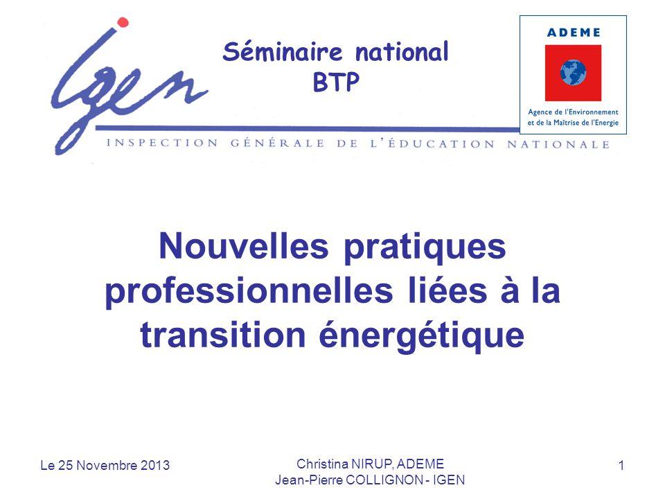 Nouvelles pratiques professionnelles liées à la transition énergétique