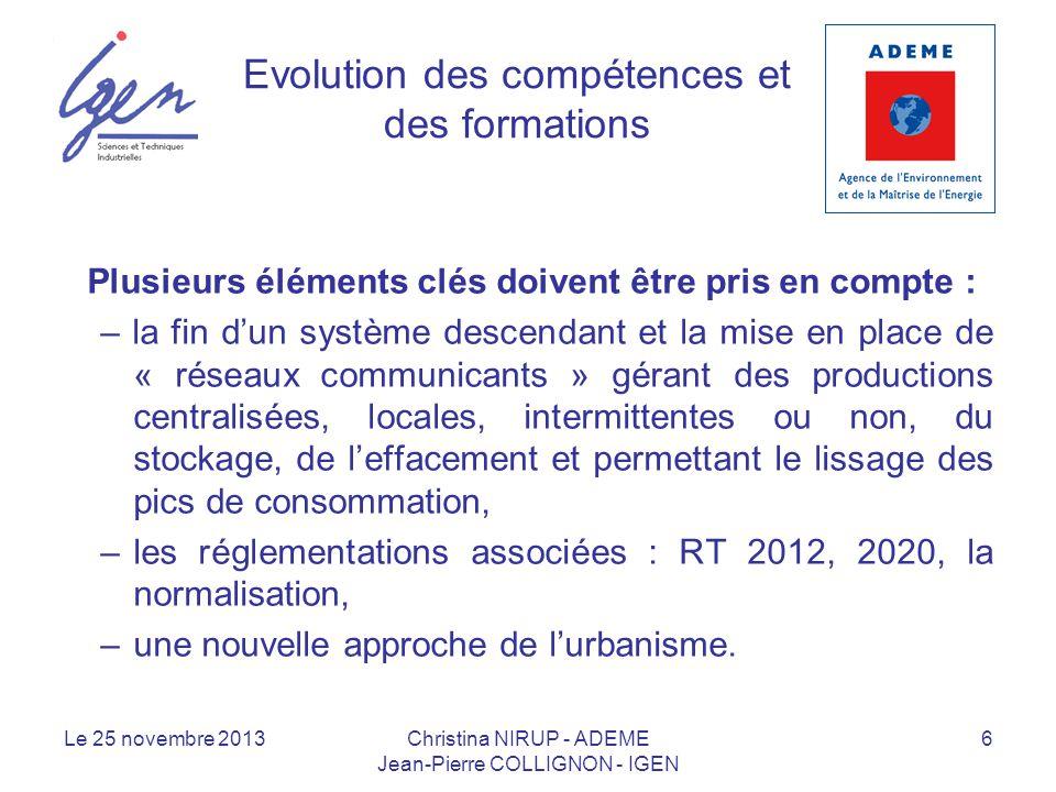 Evolution des compétences et des formations