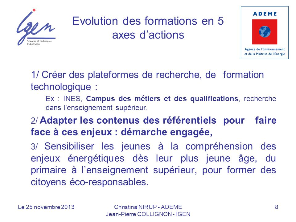 Evolution des formations en 5 axes d'actions