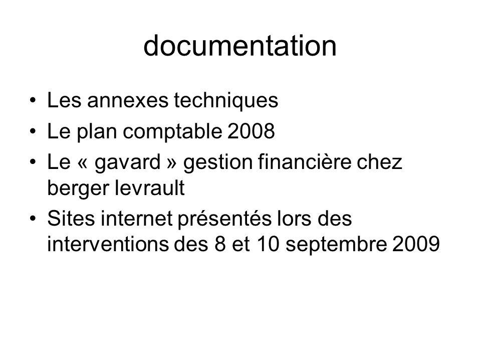 documentation Les annexes techniques Le plan comptable 2008