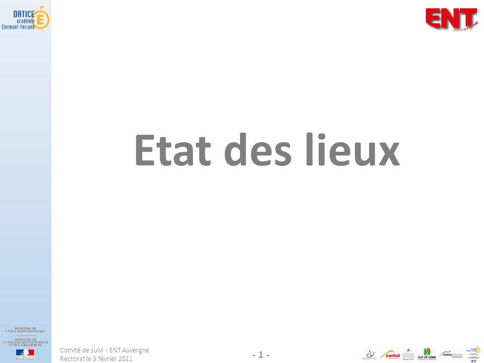 Etat des lieux Comité de suivi - ENT Auvergne Rectorat le 3 février 2011