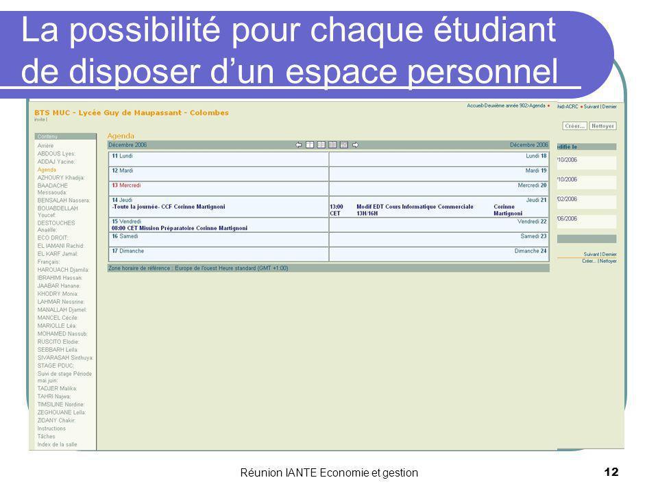 La possibilité pour chaque étudiant de disposer d'un espace personnel