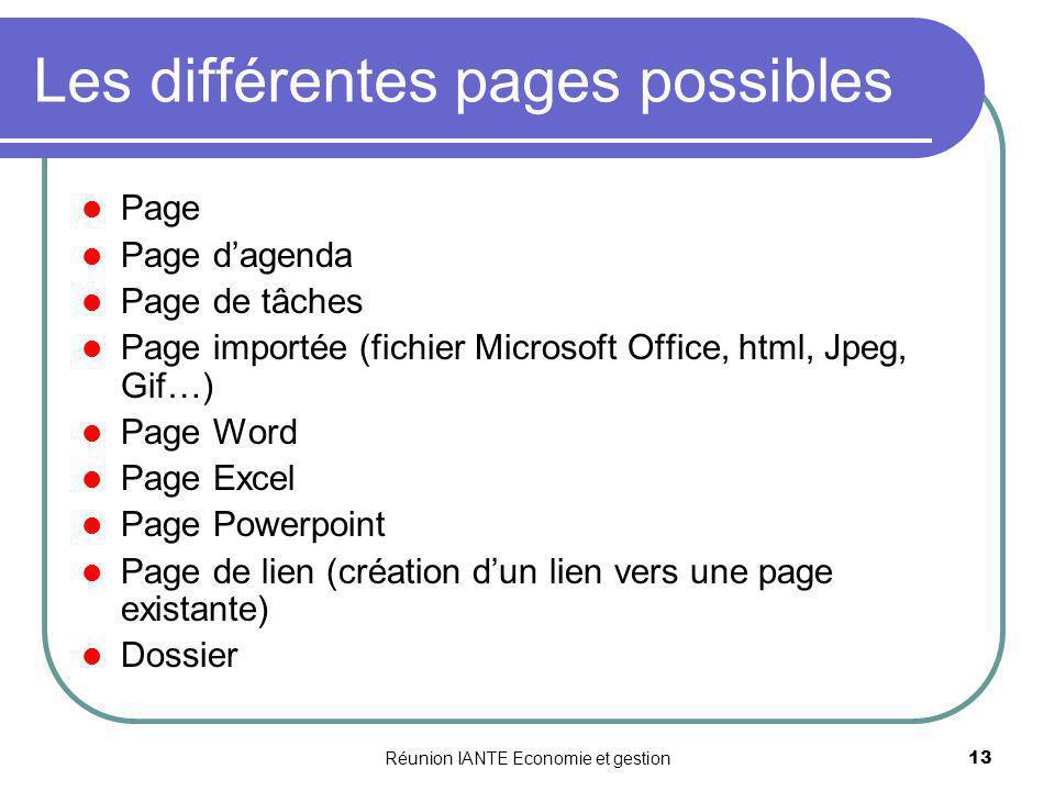 Les différentes pages possibles