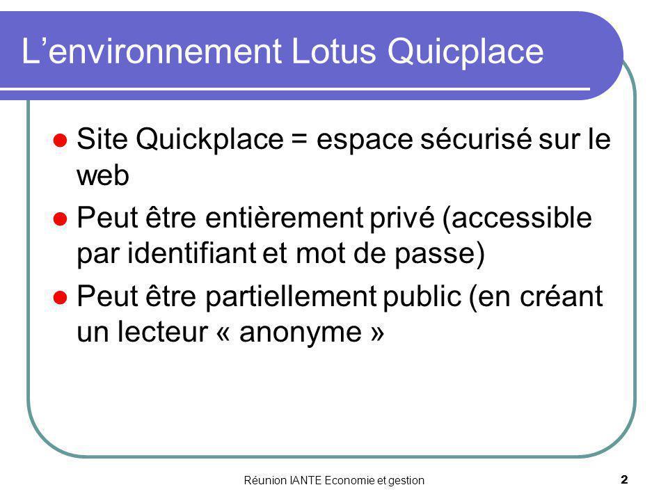 L'environnement Lotus Quicplace
