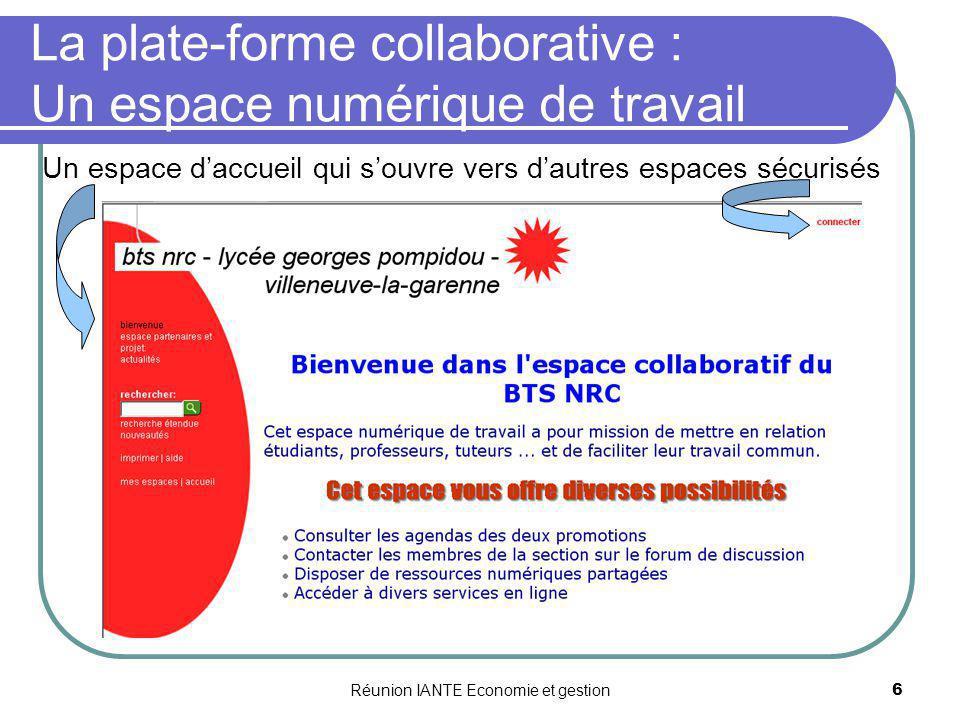 La plate-forme collaborative : Un espace numérique de travail