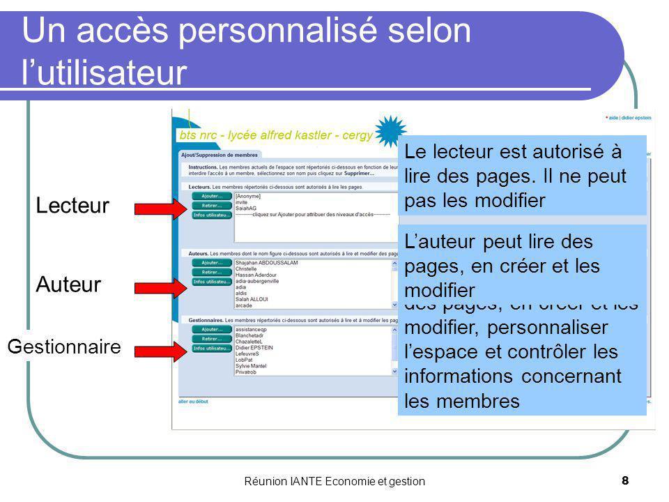 Un accès personnalisé selon l'utilisateur