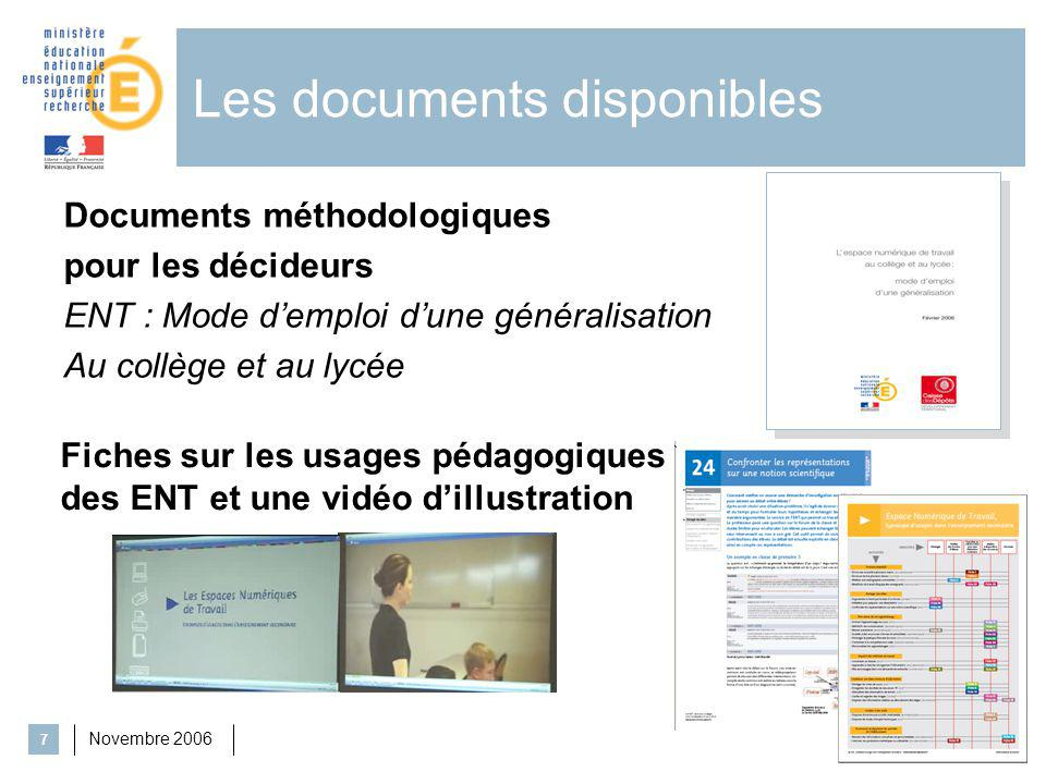 Les documents disponibles