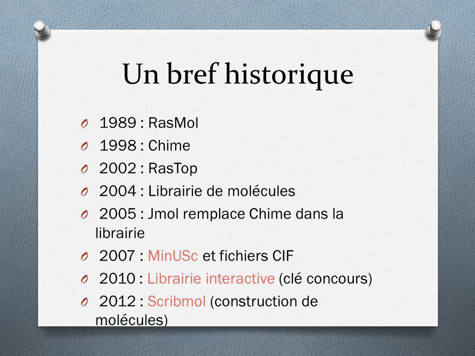 Un bref historique 1989 : RasMol 1998 : Chime 2002 : RasTop