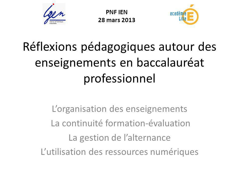 PNF IEN 28 mars 2013. Réflexions pédagogiques autour des enseignements en baccalauréat professionnel.
