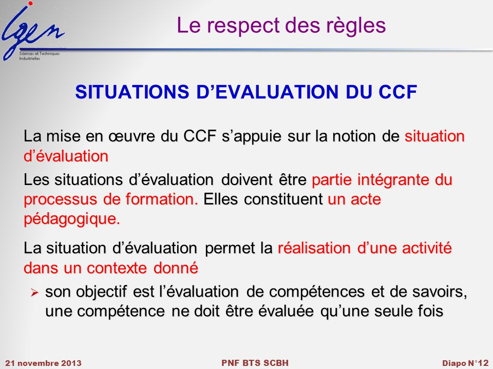 SITUATIONS D'EVALUATION DU CCF