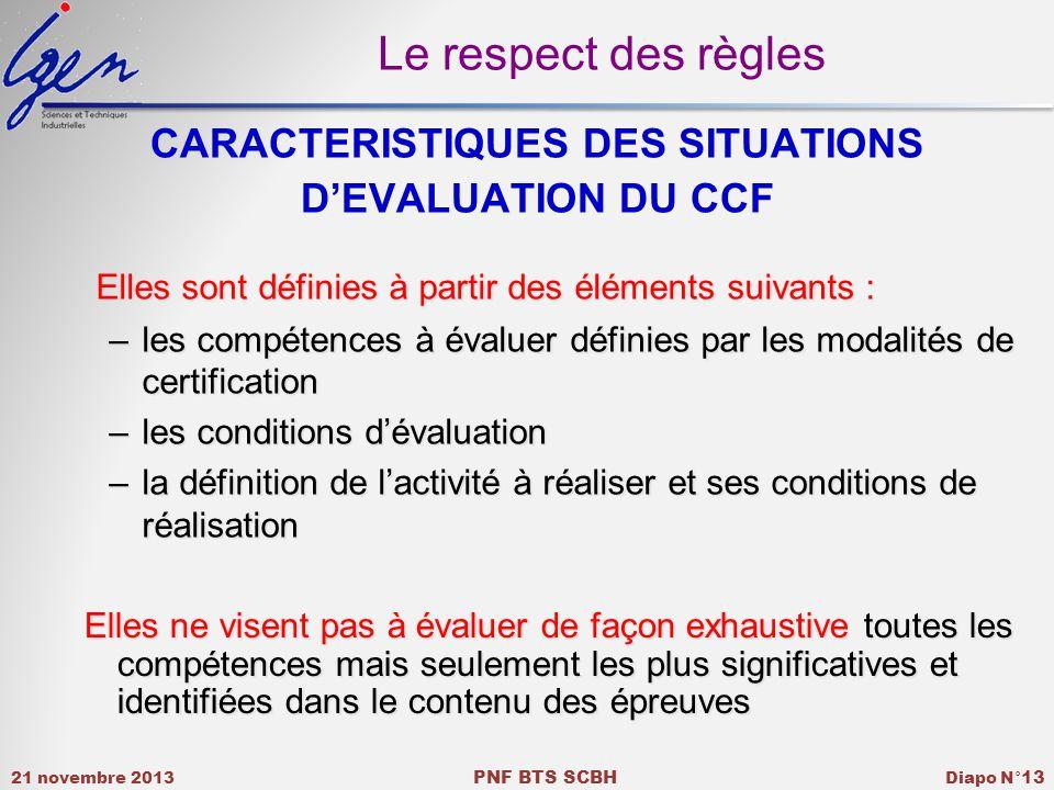 CARACTERISTIQUES DES SITUATIONS D'EVALUATION DU CCF