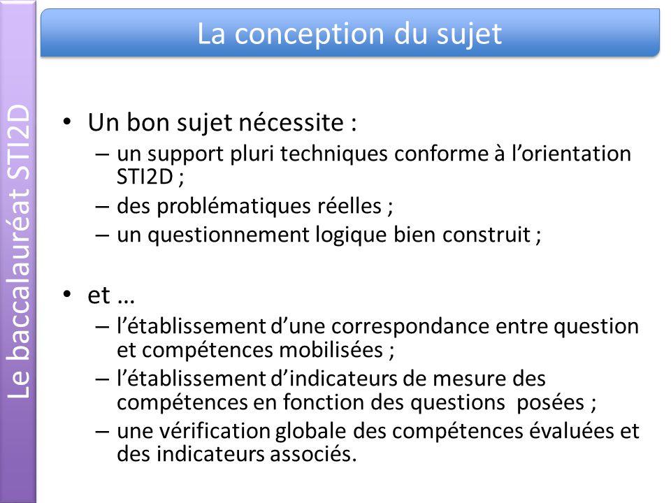 La conception du sujet Le baccalauréat STI2D Un bon sujet nécessite :