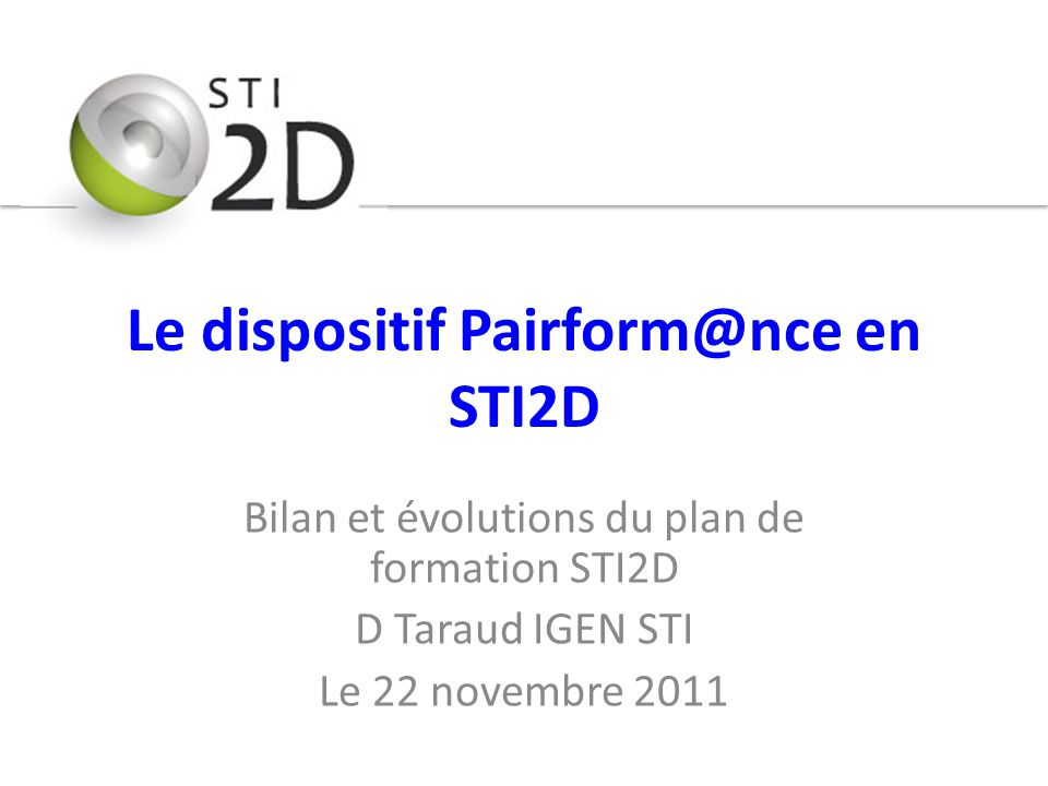Le dispositif Pairform@nce en STI2D