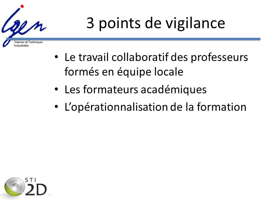 3 points de vigilance Le travail collaboratif des professeurs formés en équipe locale. Les formateurs académiques.