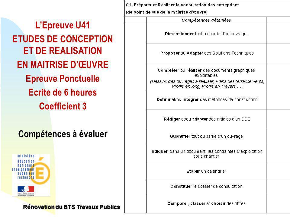 R novation du bts travaux publics la certification sujets for Etude de conception