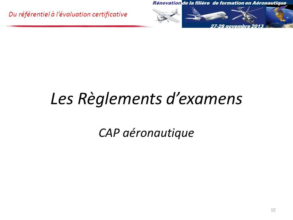 Les Règlements d'examens CAP aéronautique