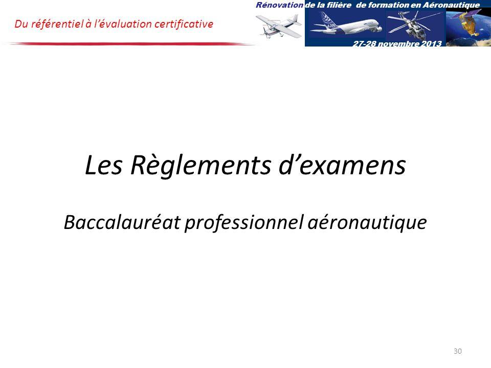 Les Règlements d'examens Baccalauréat professionnel aéronautique