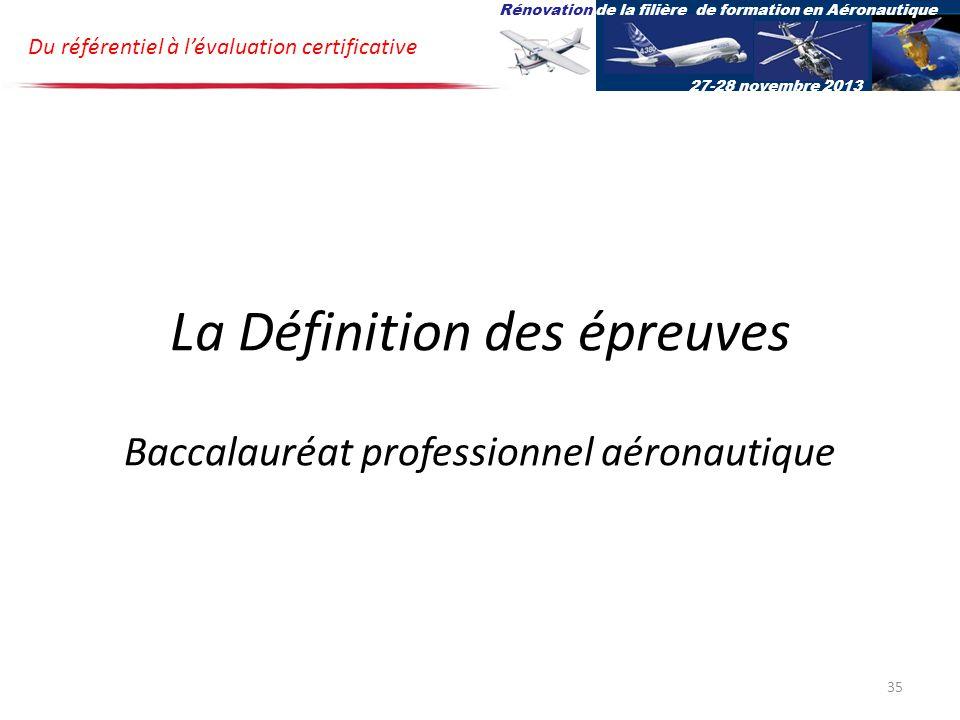 La Définition des épreuves Baccalauréat professionnel aéronautique