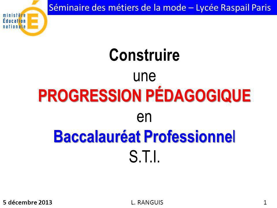 PROGRESSION PÉDAGOGIQUE en Baccalauréat Professionnel S.T.I.